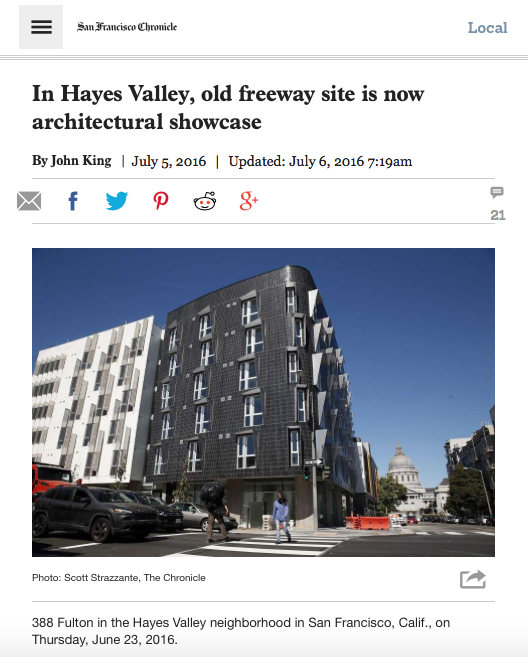 SF Chronicle features Linden St. Apartments
