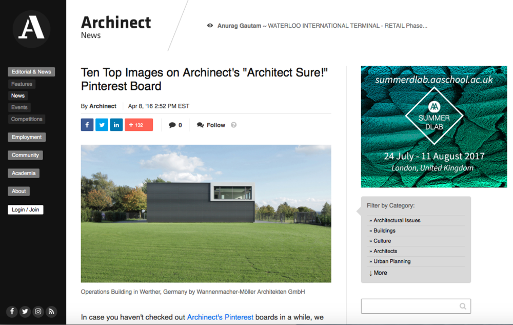 "Ten Top Images on Archinect's ""Architect Sure"" Pinterest Board"