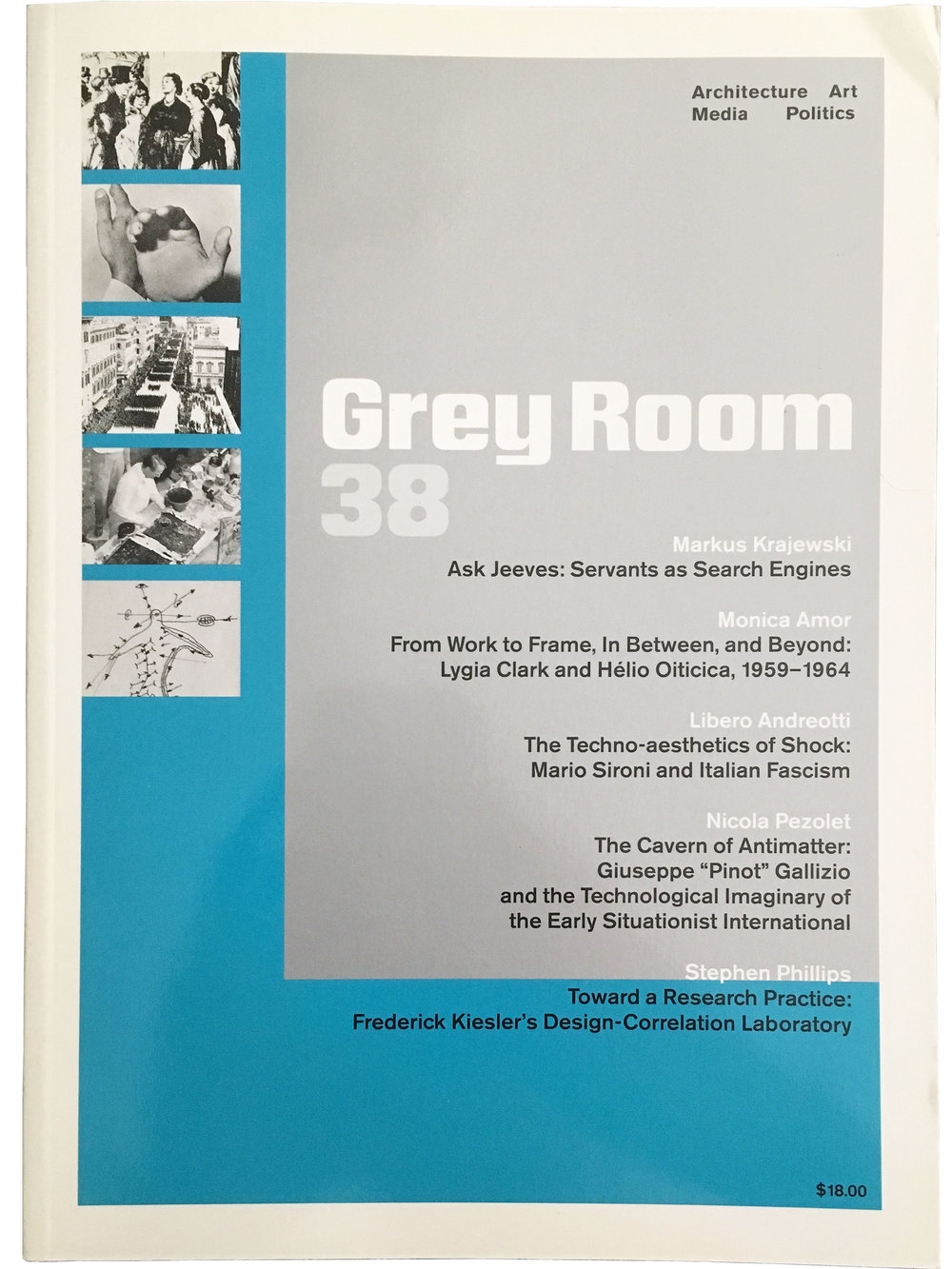 """Toward a Research Practice: Frederick Kiesler's Design Correlation Laboratory,""    Grey Room 38 (MIT Press, Winter 2010): 90-120. (Winner, Bruno Zevi Prize, Special Mention, 2011). Research Practice Symposium: Proceedings, edited by Stephen Phillips (AeDPress, 2009).    download pdf"