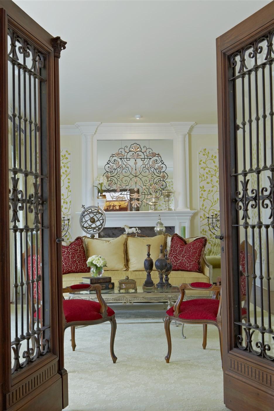Living room entrance with open double door