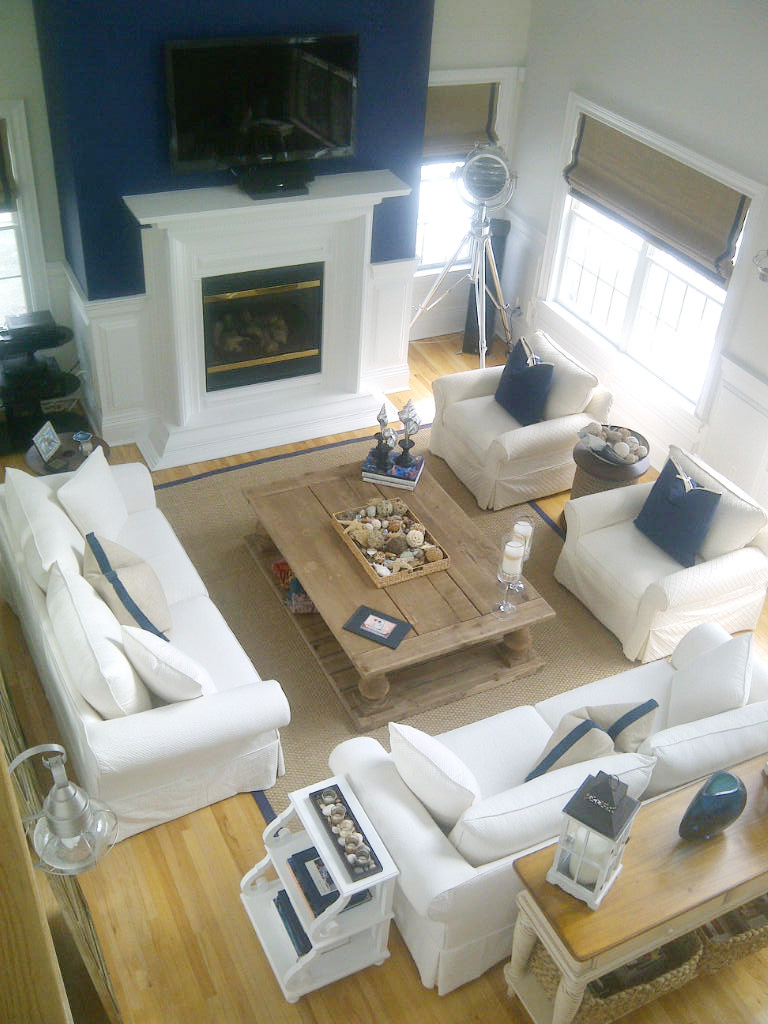 Living room with white sofa set