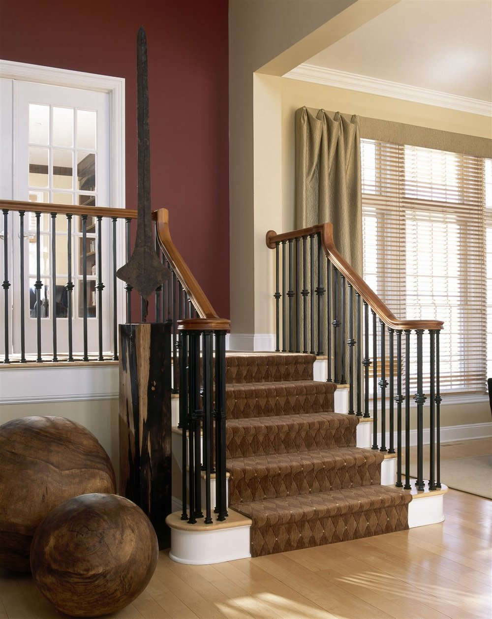 Staircase with metal railing