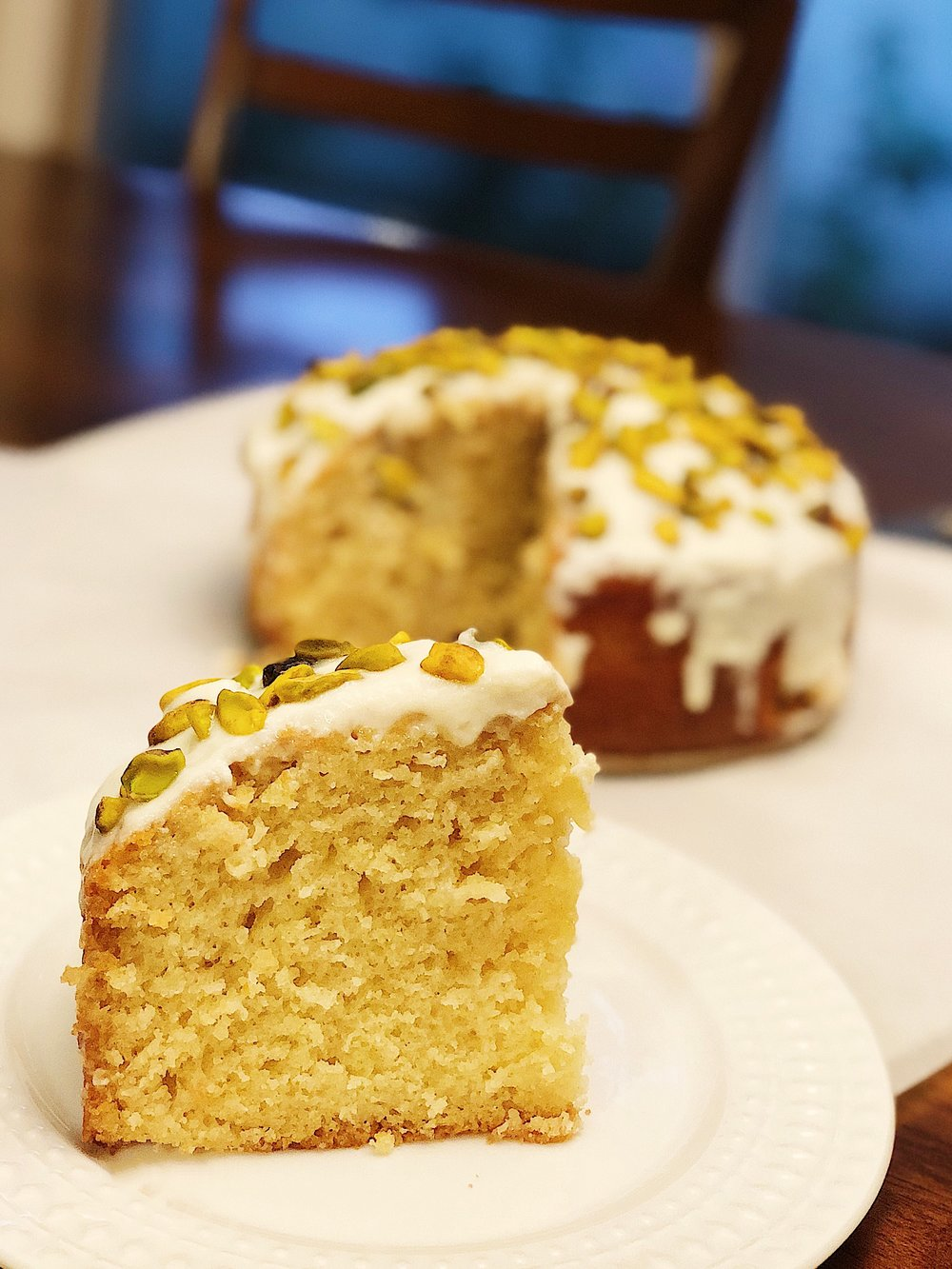 Maple Honey Cake with Pistachio and Ricotta Frosting