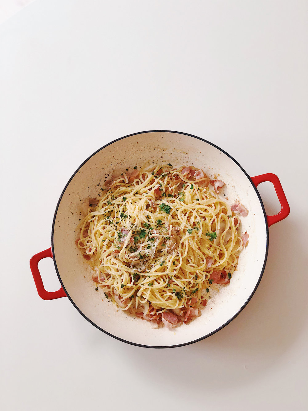 One-pan Pork Belly Carbonara