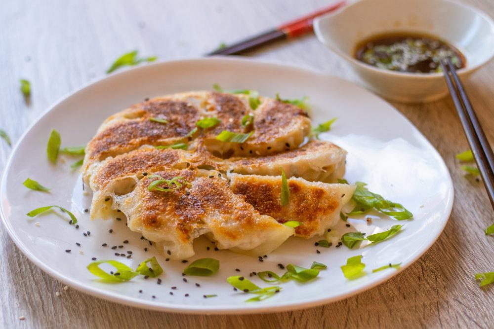 Gyoza 2 ways: pork & cabbage, chicken & mushrooms