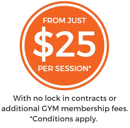 No lock in contracts or additional gym membership fees. *Conditions apply, ask us for more info on packs.