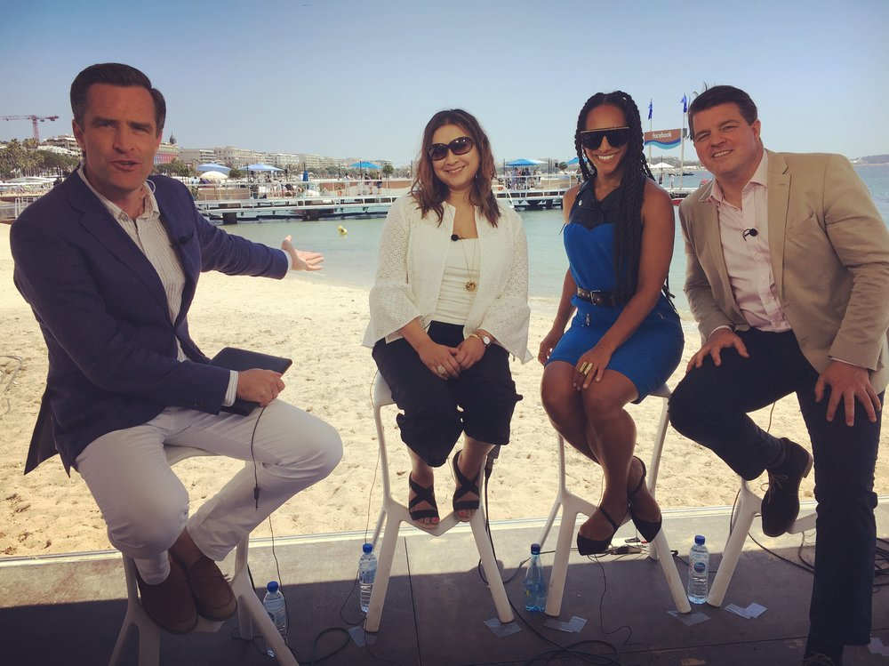 On the CNN Talk set in Cannes with Ayesha Hazirika, Afua Hirsch and Liam Hallighan.
