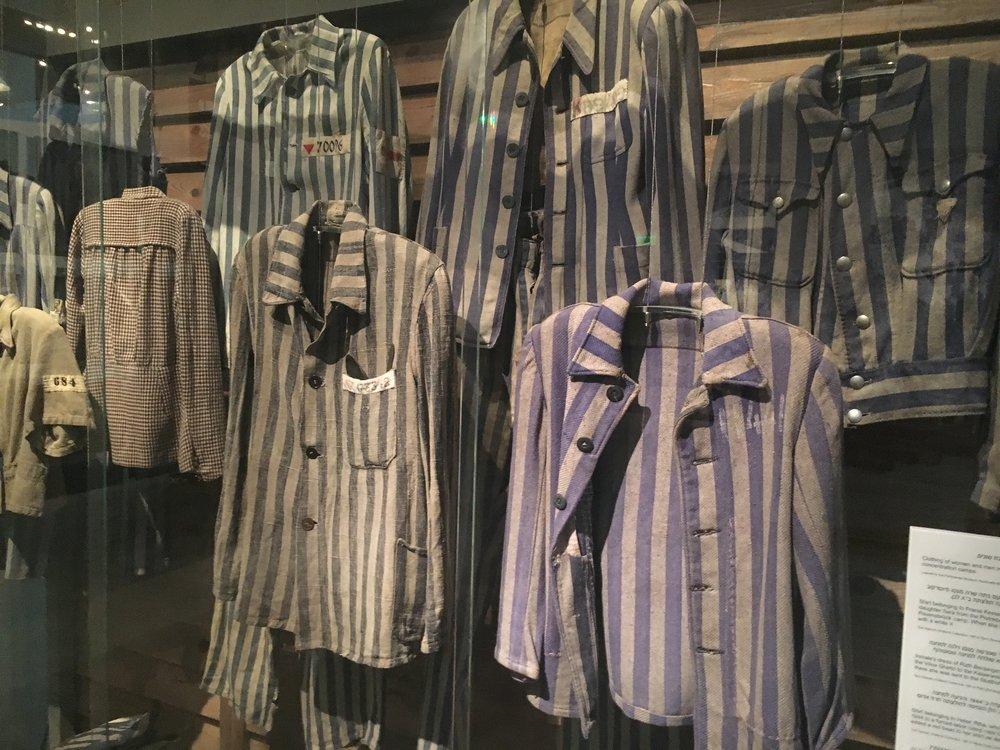 Prisoner outfits on display at Yad Vashem