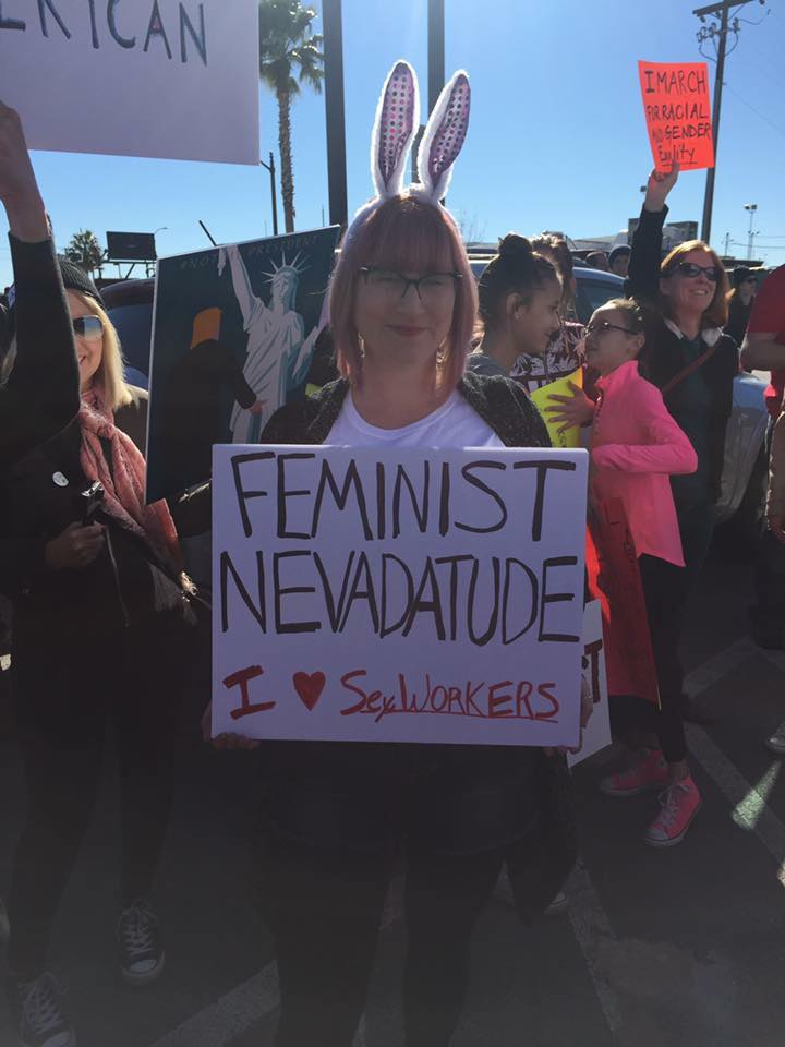Sociologist  Crystal Jackson  at the Women's March, Las Vegas