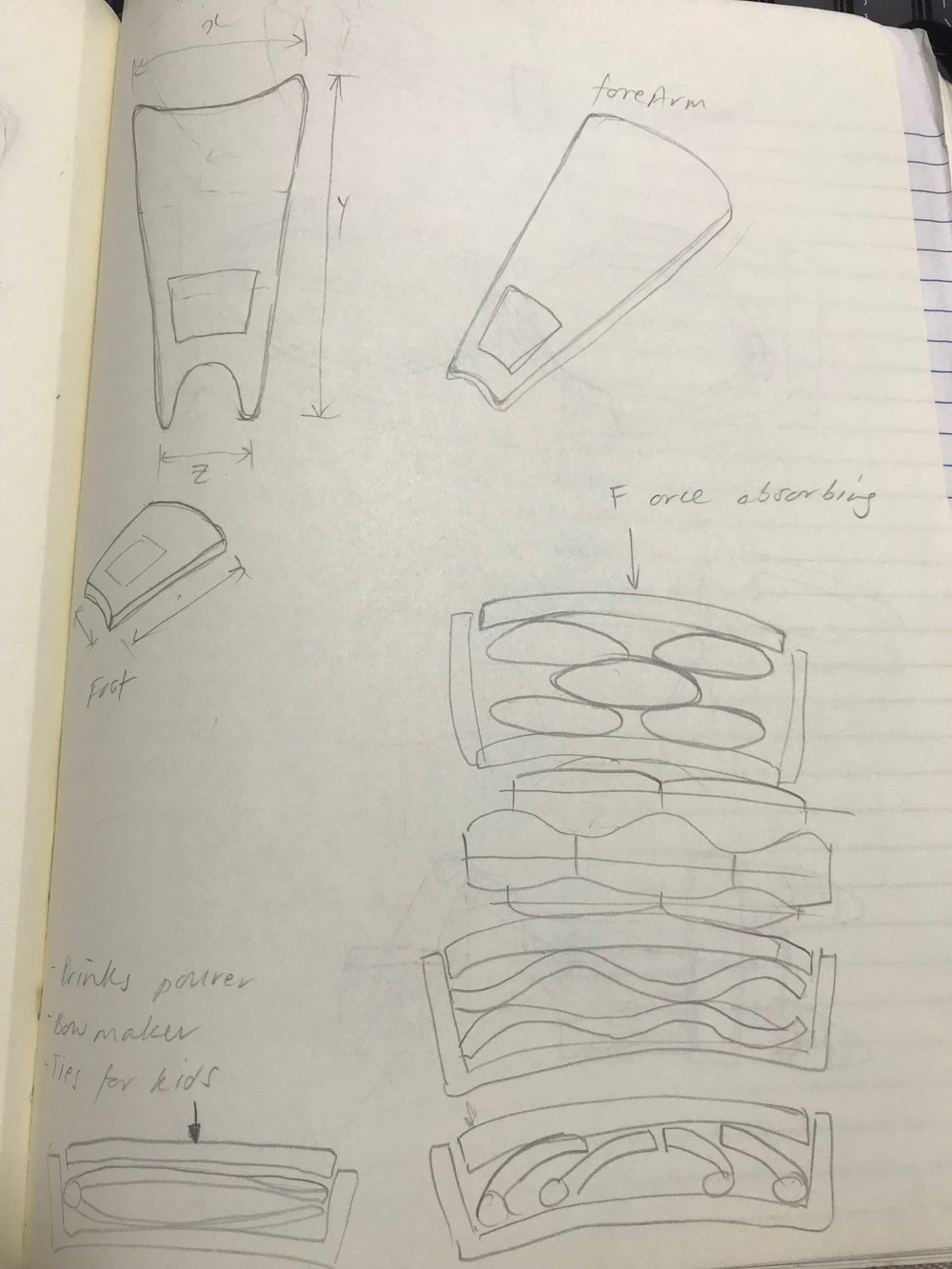 Sketches of the shock absorbing shin pads