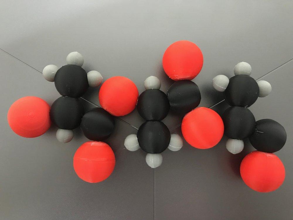 3D Printed Polylactic Acid (PLA) molecule