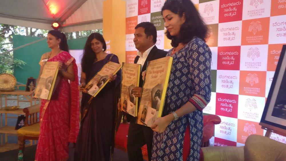 (R to L) Rashmi Menon-Comissioning Editor Amaryllis, Tony V Francis- author, Shinie Antony- Editor and Sudha Balaji- Guest of honor and District Director Toastmasters International
