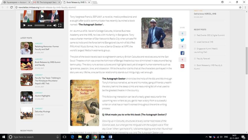 Interview on L Square The IIM Bangalore Alumni magazine