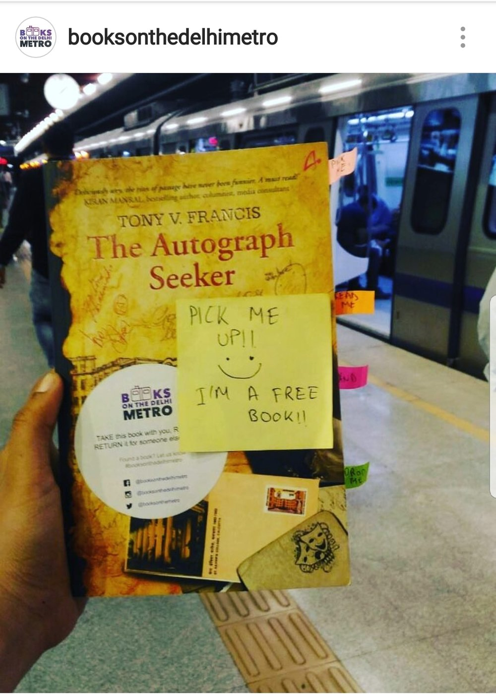 Books On The Delhi Metro' a not for profit organisation is hiding books in Delhi metro stations for people to read and pass them ........ to infuse some good old reading habit among the commuters.You can identify these books from the sticker on the covers.