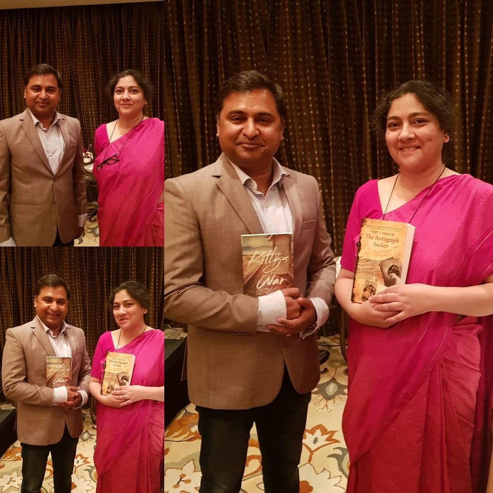 Daman Singh, author and daughter of Prime Minister Manmohan Singh and Tony V Francis author of The Autograph Seeker holding the others novel.