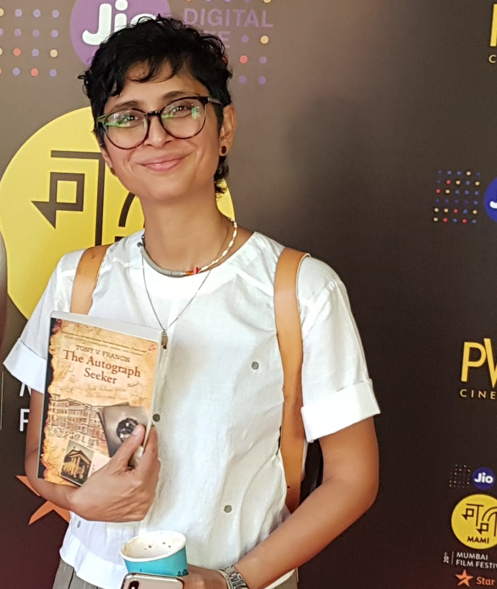 Kiran Rao, Chairman Mumbai Film Festival 2018 holding the novel after it was longlisted for Word To Screen 2018 at Jio MAMI 2018