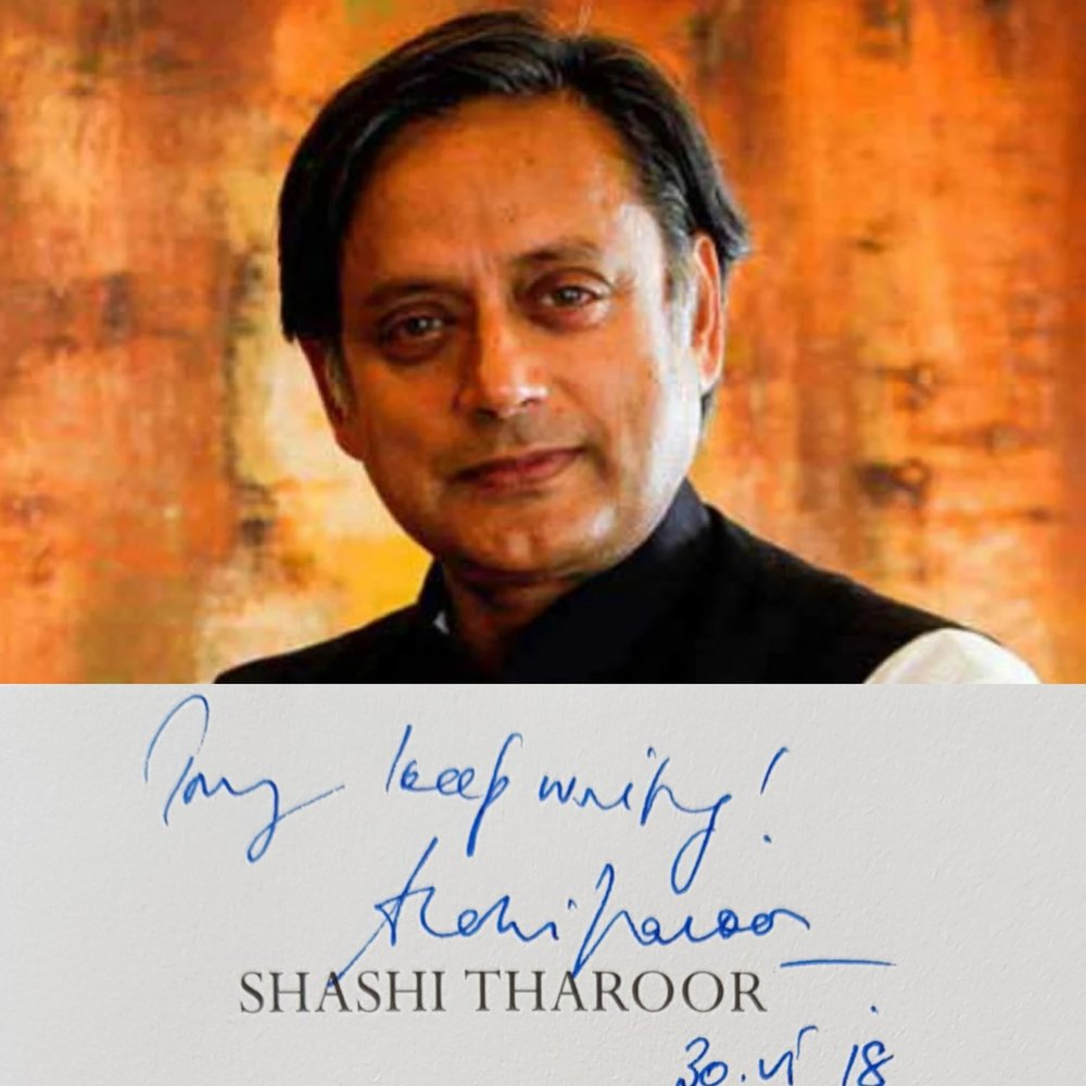 Sashi Tharoor, author and Indian Politician wishing the author after the debut of The Autograph Seeker.