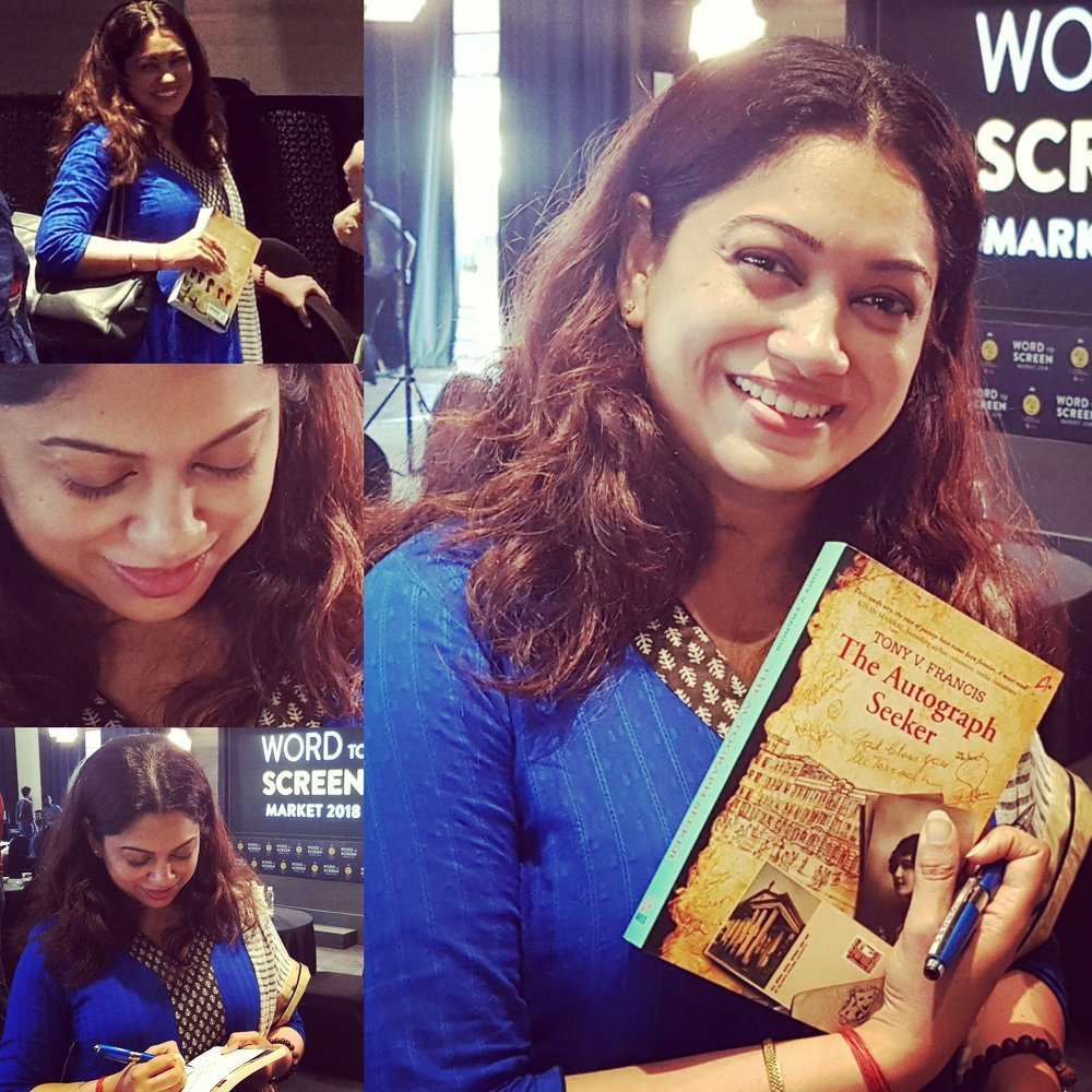 Anjali Menon, Indian Filmmaker with her copy of The Autograph Seeker