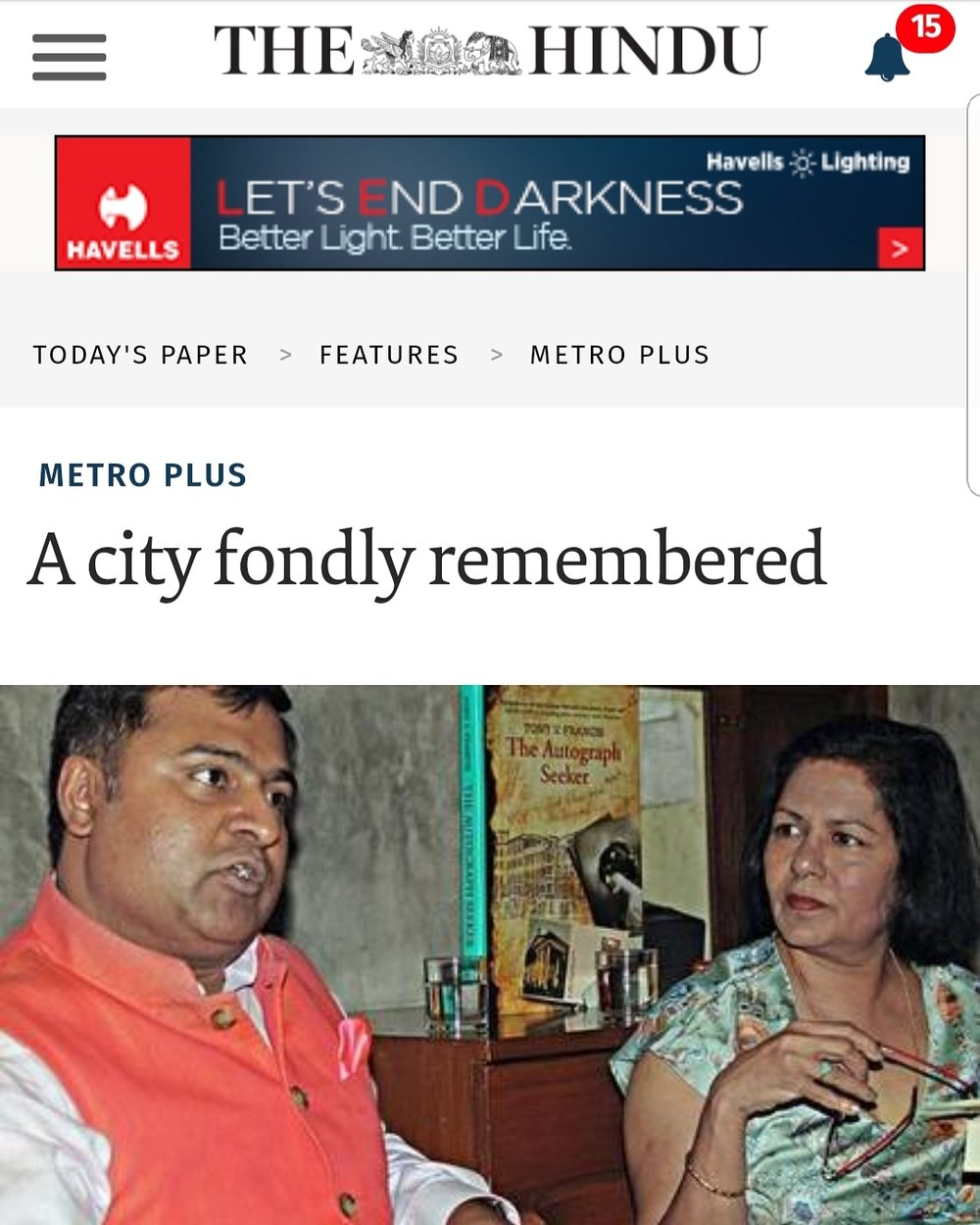The Hindu covers a session on The Autograph Seeker under the title 'A city fondly remembered'