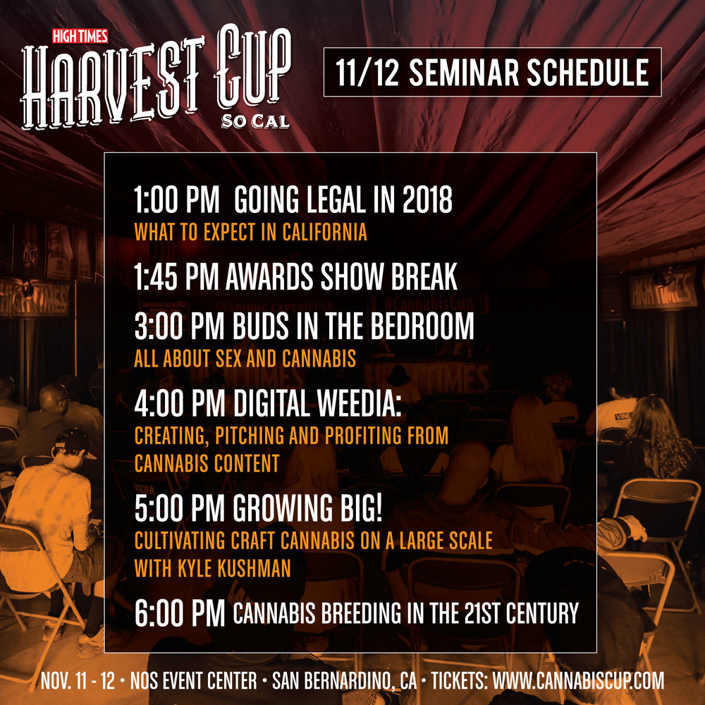 High Times Harvest Cup Sunday Seminar Schedule