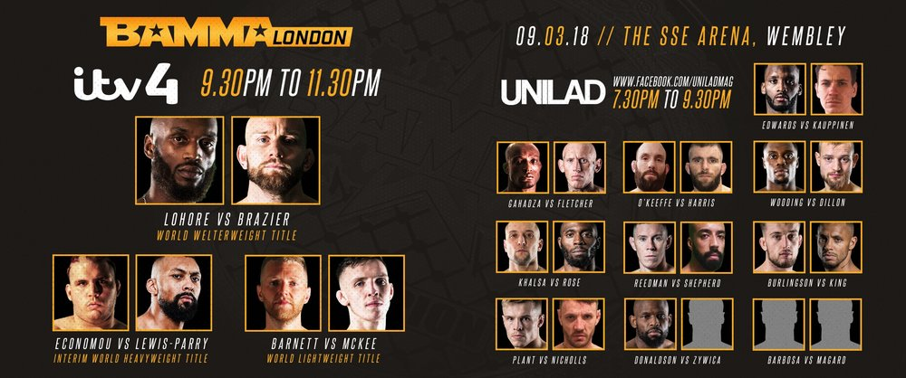 Take a look at tonight's full schedule. We'll be providing live updates and fight recaps as they happen.