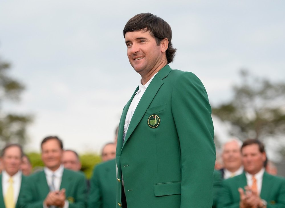 Bubba Watson smiles during his green jacket ceremony at the 2014 Masters