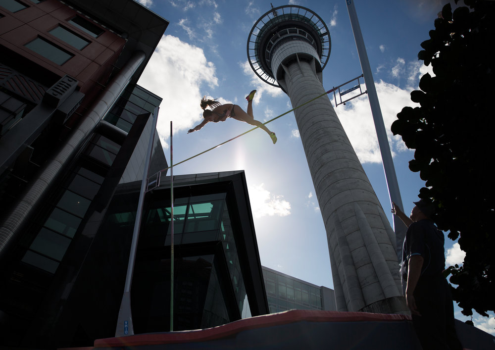 Eliza McCartney: Photoshopped jumping under the Sky Tower used for promotional material as well as media. The actual event had to be moved down further so unfortunately you were unable to capture this image in real life.