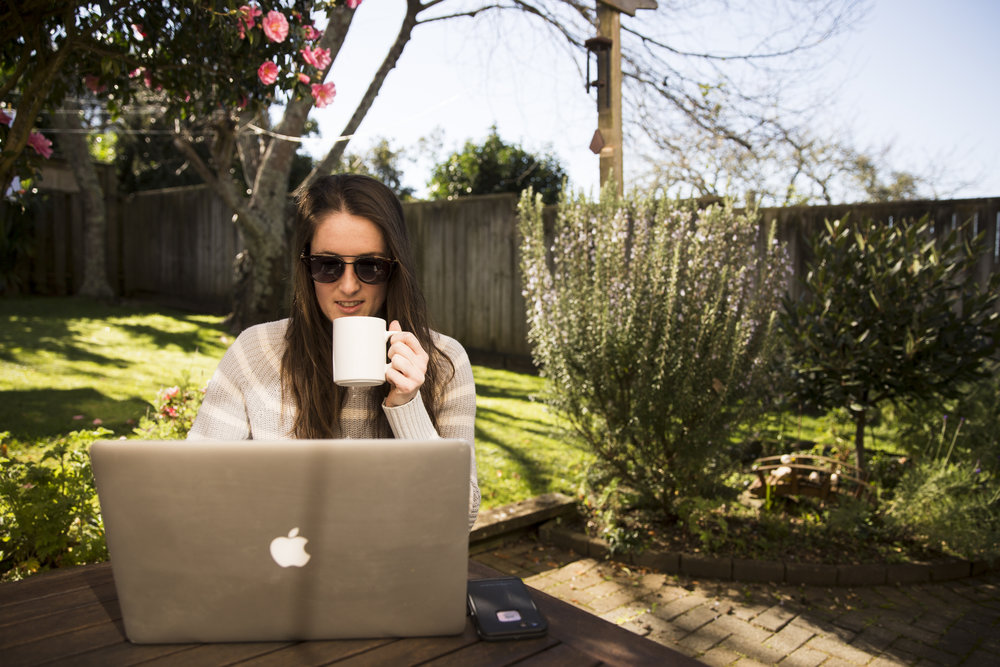 Freelance perks: doing admin outside in your backyard feat some sick Rayban Shades from  SmartBuyGlasses.com