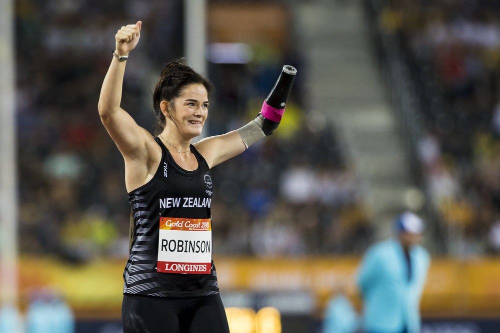 Holly Robinson wins silver in the F46 Para Javelin at the 2018 Commonwealth Games. Gold Coast, Australia. Copyright photo: Alisha Lovrich / www.photosport.nz