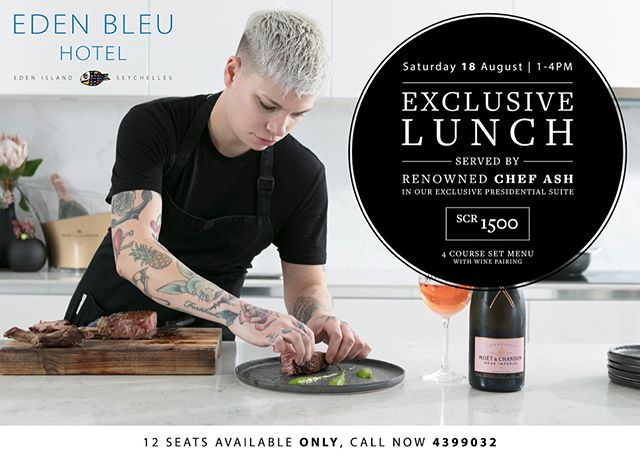 We're in Seychelles ! 🌴  If you're in Seychelles, come down to Eden Bleu Hotel and join us for lunch or dinner, see post for details.  Chef Ash has created two very special menu's just for you. Call +248 439 9100 to reserve your spot.