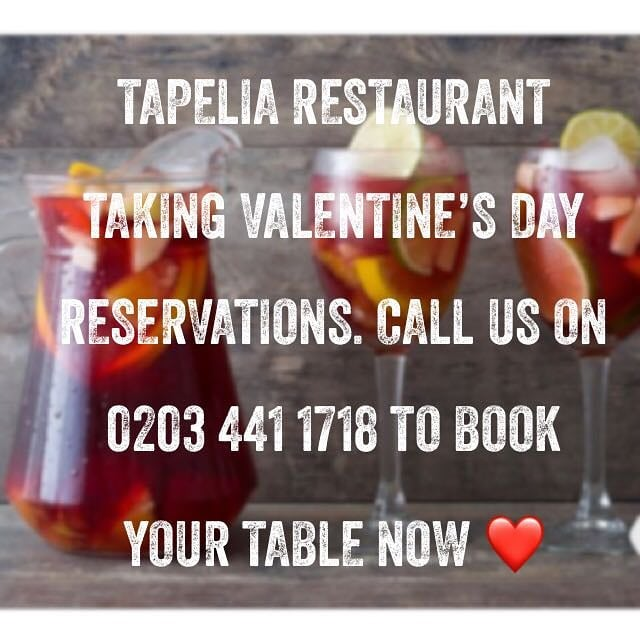 For valentines day bookings Either email us @  info@tapelia.co.uk  Or call 0203 441 1718 after 5pm!  #Valentinesday #Restaurant #Spanish #Tapas #Northfields