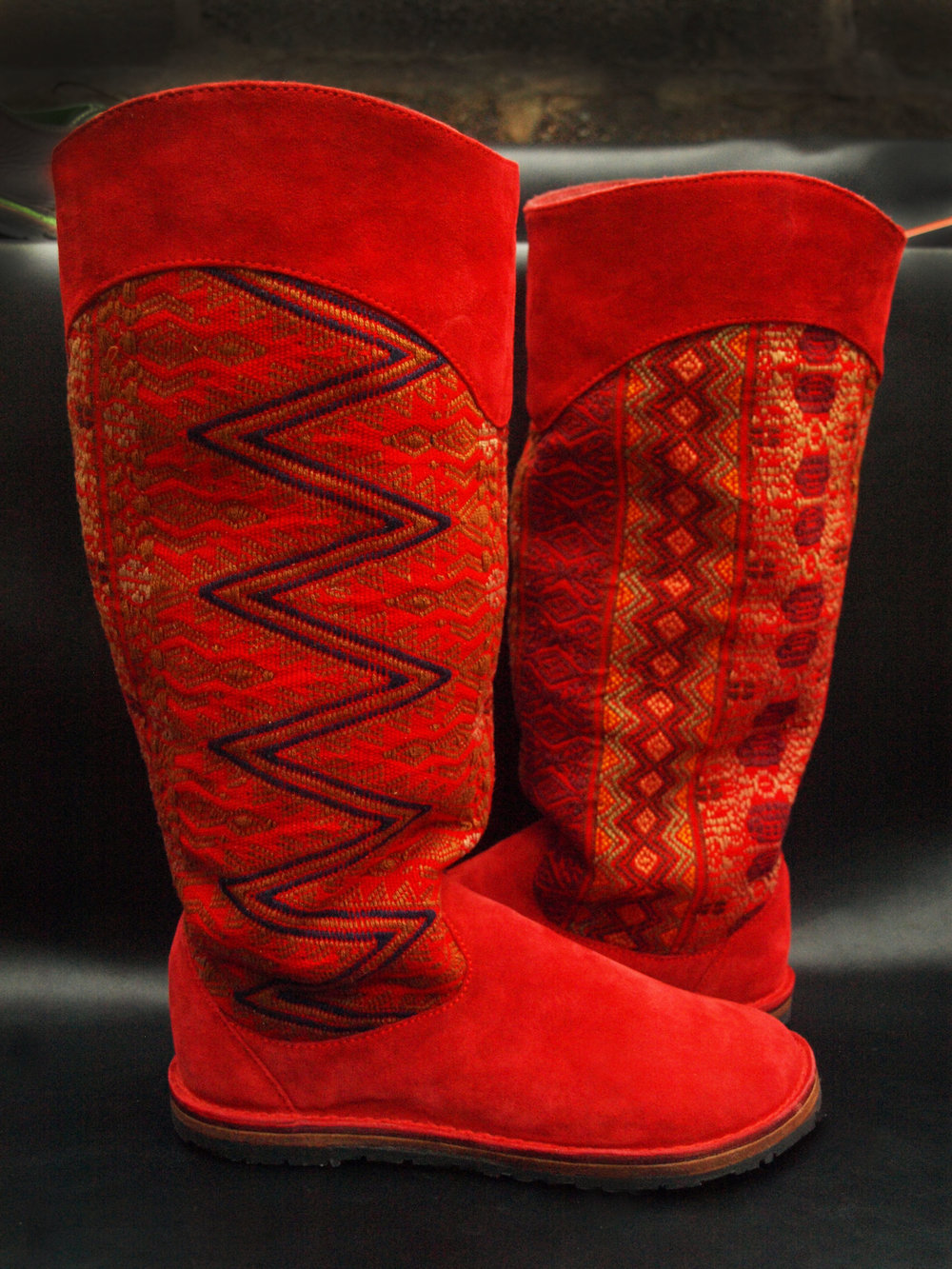 Red suede boots made with hand woven Mexican fabric 2017.jpg