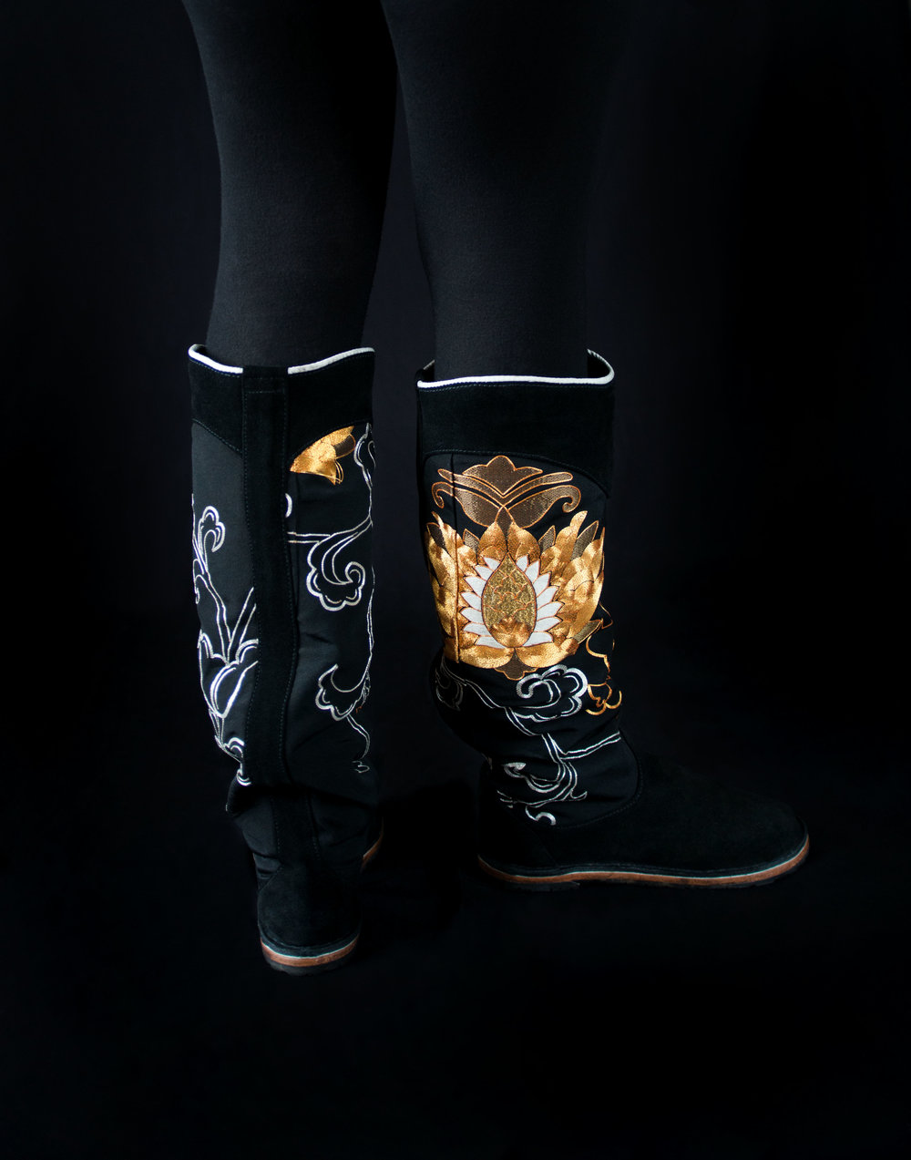 Lotus boots. made with hand embroidered Japanese silk.jpg