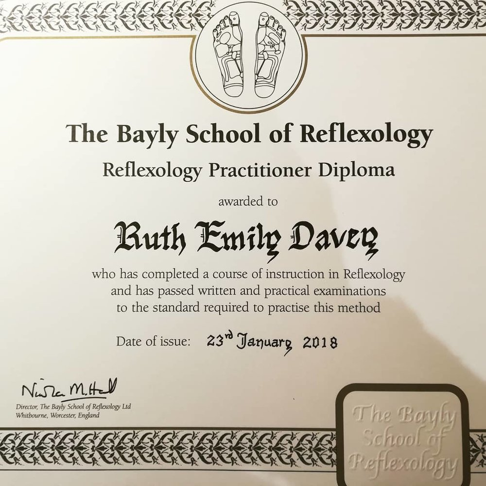 Qualified Reflexologist Ruth Emily Davey
