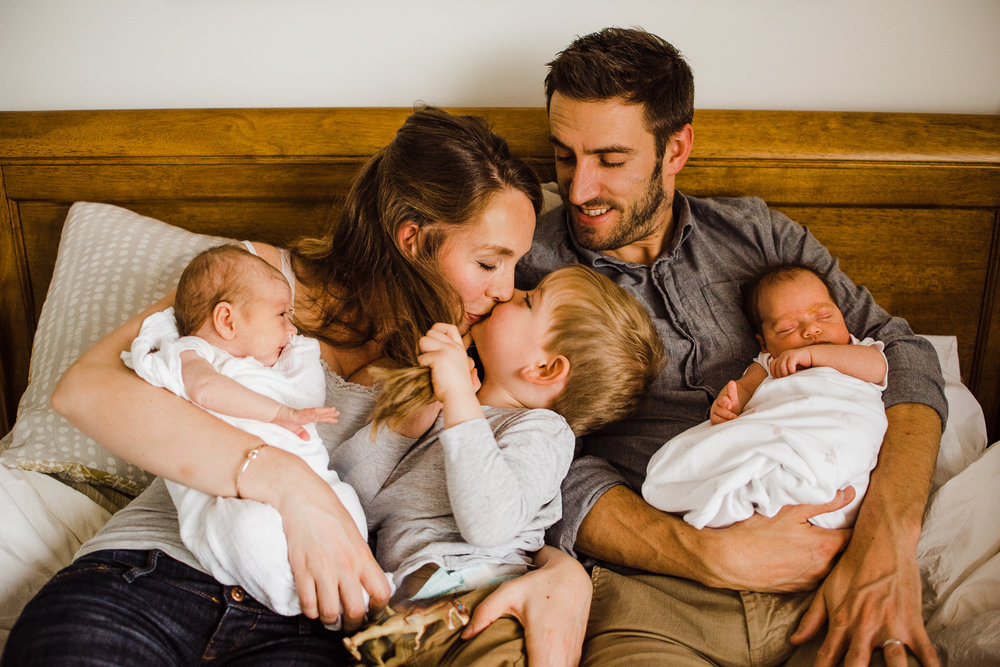 Gorgeous family at home with newborn twins