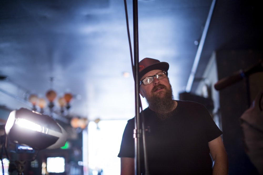 Christian Lybrook on set during a music video shoot for the band Hillfolk Noir.