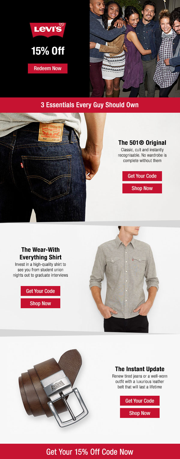 LEVI'S. Levi's brand identity is simple but quality. With a higher price tag, students need extra encouragement to buy.