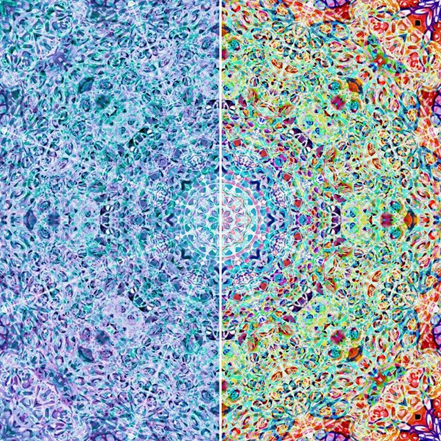 Same design, different colour scheme. On the left is 'Crystal' and in the right is 'Bright Jewel'. Available to have printed on all sorts of things through the link in the bio  #mandala #gypsy #boho #hippiechick #bohochic #bohemian #mandalapattern #pattern #redbubble