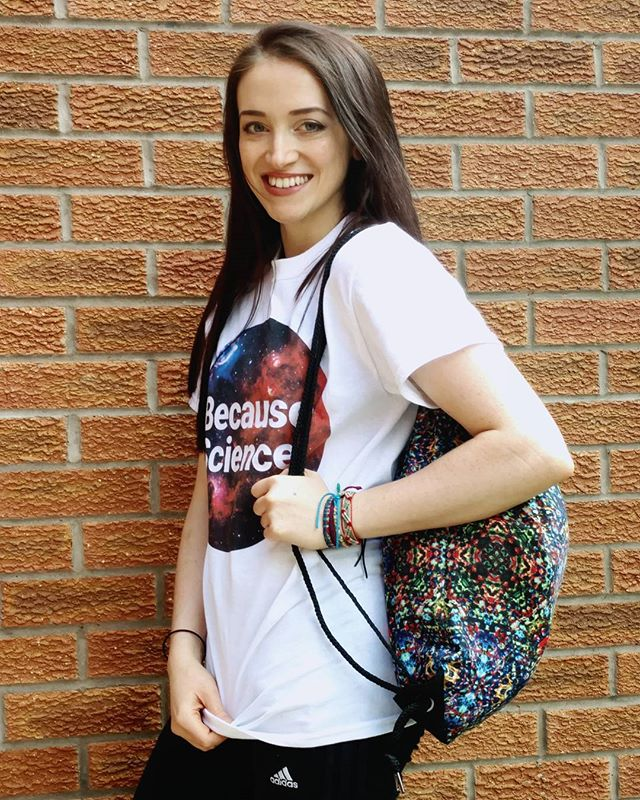Realising I'm wearing all my own designs, looking like it's my first day of college. This is my most popular design T-Shirt 'Because Science' in a size small classic T-Shirt, and my 'Jewel' psychedelic drawstring backpack! (I was actually off to go Bouldering!) . #redbubble #redbubbleclassictee #redbubbleclassictshirt #redbubbletshirt #redbubbledrawstringbag @redbubble #redbubble #becausescience #science #offtocollege #reppingmyself #selfpromotion