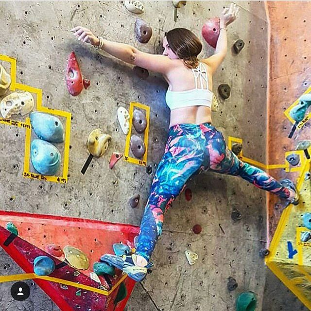 Omg! I love seeing @_alexandralynne rocking these legging on the climbing wall at @theblocclimbing. They're perfect for flexible moves like this one. 😋 Get yours through the link in the bio. Thanks so much for making them look amazing Alexandra!  #leggings #climbergirl #womenwhoclimb #girlswhoclimb #bouldering #gymwear #gymleggings #yogapants #thisgirlcan #badass #toughgirl #rad #unique #originaldesign #graphicdesign #textiledesign #pattern #print #printedleggings #leggingsarepants