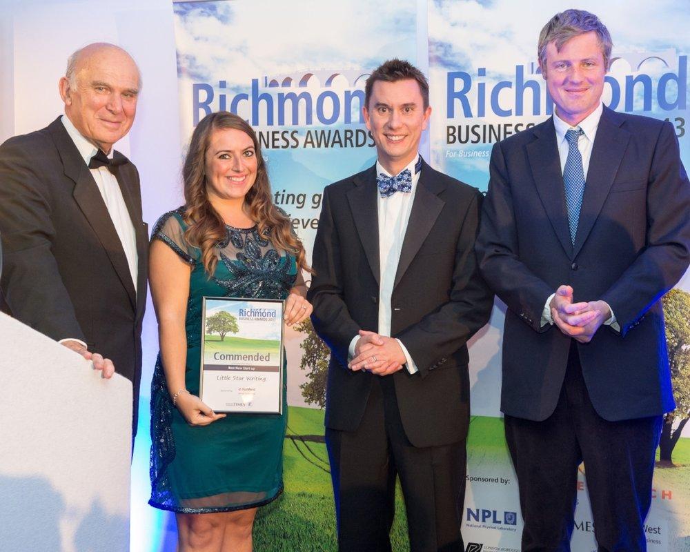 Little Star Writing winning a Best Start-Up award in 2012