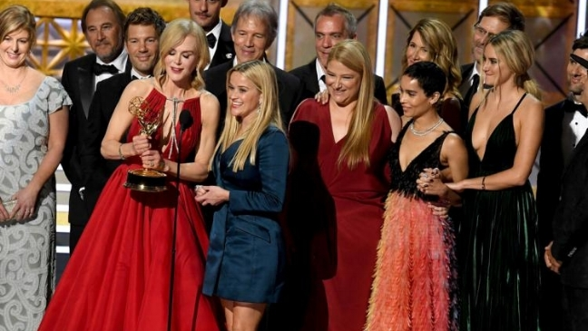 The Big Little Lies cast and crew accept the Emmy for Outstanding Limited Series