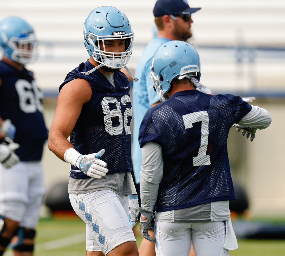 Senior receiver Austin Proehl (7) says junior Brandon Fritts (82) is the best tight end in the ACC.