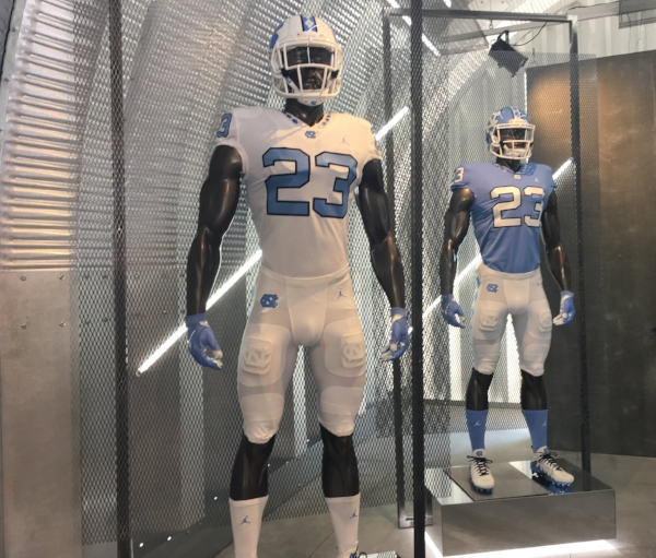 Tar Heel fans were treated to a first look Saturday at the Tar Heels' new Jordan Brand uniforms.