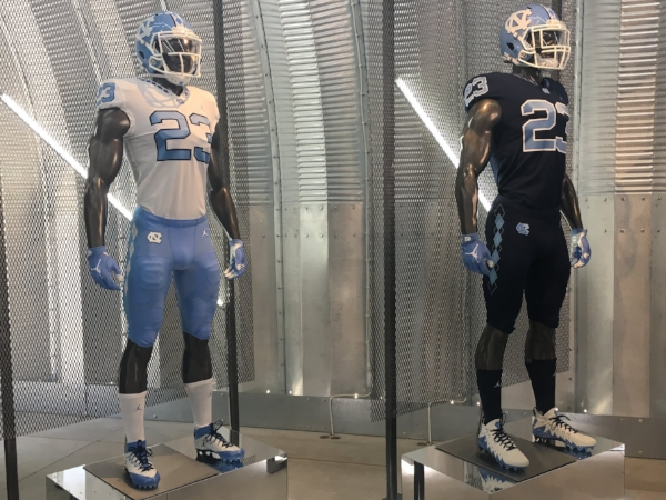 "UNC's new Jordan Brand jerseys are on full display at Saturday's ""Meet the Heels"" event."