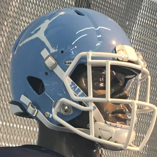 The Jordan Jumpman logo on the Tar Heel football practice helmets