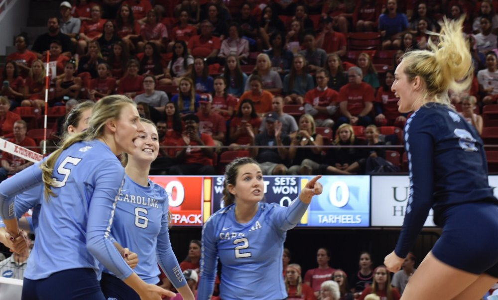 Casey Jacobs (navy) gets hype during a match at N.C. State. Photo by Turner Walston