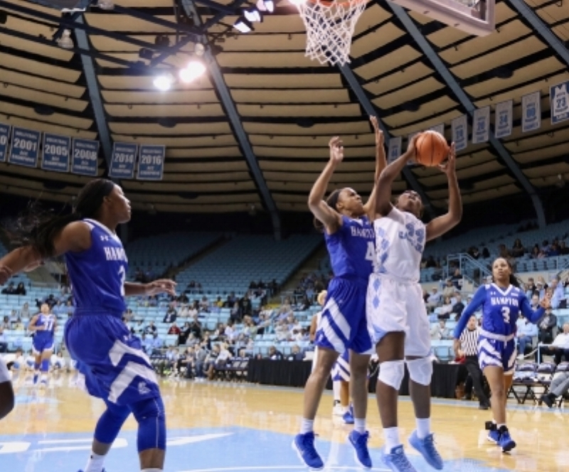 The Tar Heels have struggled when Janelle Bailey (44) fouls out, like she did against Hampton.