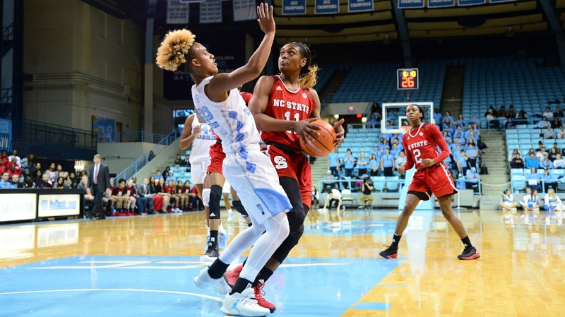 Paris Kea (22) scored in double digits again, but that wasn't enough to withstand a late N.C. State run. Photo credit: UNC Athletic Communications/Jeffery A. Camarati