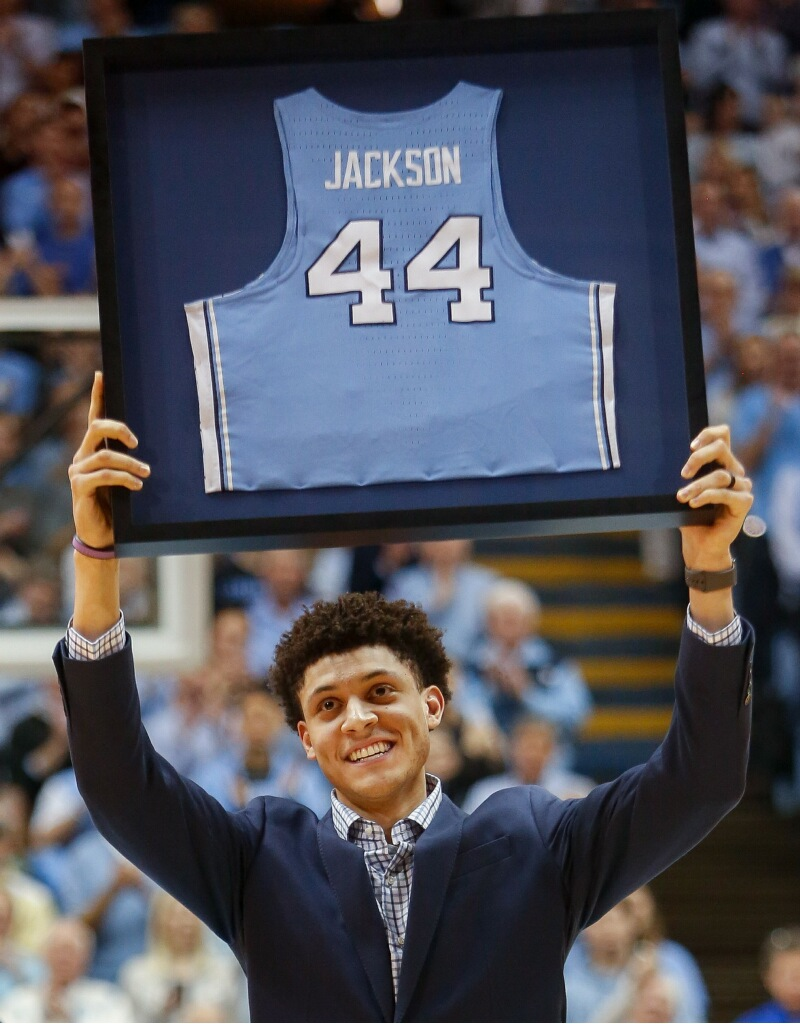 Cameron Johnson's penchant for big-time buckets might remind some fans of Justin Jackson (above), who was honored at halftime of Saturday's game. | Photo by Alex Kormann